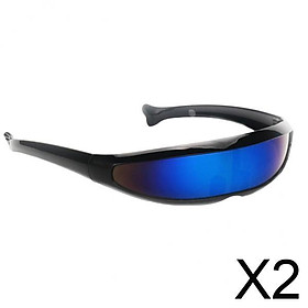 2xFuturistic Narrow Lens Visor Eyewear Sunglasses Black Frame Blue Mirrored