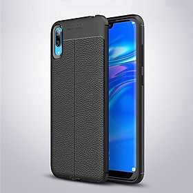 Ốp lưng Silicon Auto Focus giả da, chống sốc dành cho Huawei Y7 Pro 2019 - Hàng Chính Hãng