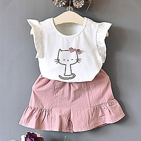 Hot Summer Fashion Korean Version Cute Cat Bow Short Sleeved T-shirt + Solid Color Shorts Kids Clothing Set 2 Colors
