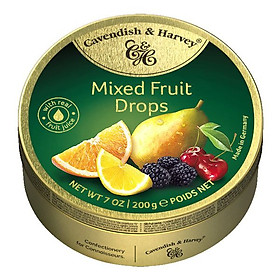 Kẹo trái cây Cavendish & Harvey vị Mixed Fruit hộp 200gr (Xanh lá)