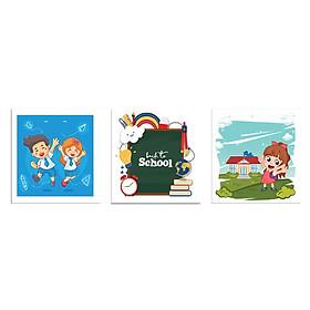 Bộ 3 Tranh Phòng Ngủ Cho Bé Trẻ Em Đáng Yêu Canvas Có Viền W1192