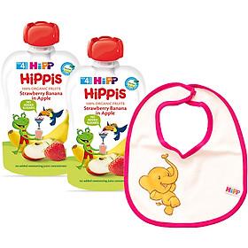 Combo 2 Trái Cây Nghiền Hữu Cơ HiPPiS Organic Dâu tây, Chuối, Táo - 8521 (100g) Tặng Kèm 1 Yếm Ăn Dặm HiPP