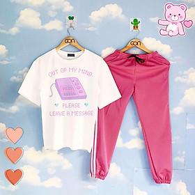 Set áo tay lửng quần thun 2 sọc HỒNG unisex, quần dài 2 sọc, 3 sọc Áo tay lỡ và quần thể thao PINK