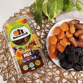 Mix Trái Cây Khô Smile Nuts hộp 350g | Hàng nhập khẩu gồm Chà Là từ Tunisia, Mận Khô từ Chile, Mơ Khô từ Thổ Nhĩ Kỳ | Mixed Dried Fruits (Dates, Prunes, Apricots)