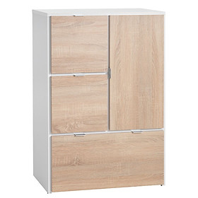 Tủ ngăn kéo JYSK Nautrup gỗ công nghiệp trắng/sồi R64xC96xS40cm