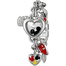 Disney Women's MK2058 Mickey Mouse Silver-Tone Sunray-Dial Charm Bracelet Watch