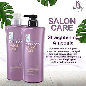 Bộ dầu gội/xả mềm mượt Kerasys Salon Care Straightening Hàn Quốc 600ml - Dành cho tóc thẳng tặng kèm móc khoá-1