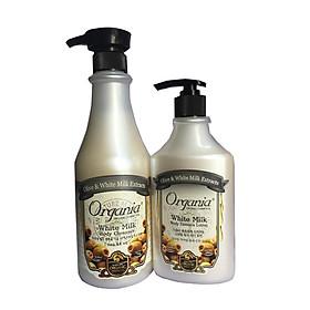 Combo sữa tắm White milk Organia 750g và sữa dưỡng thể trắng da white milk 400g