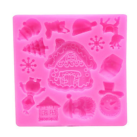 Christmas Tree House Snowflake Snowman Elk Fondant Silicone Mold Chocolate Cake Mold Cake Decoration Tool
