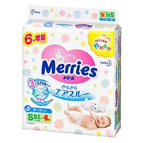 Bỉm - Tã dán Merries size S 88 nội địa thêm miếng (Cho bé 4 - 8kg)-0