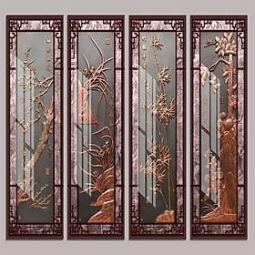 Bộ 4 - Tranh treo tường - Trang trí phòng khách/Tứ quý 3D/Gỗ MDF Hàn Quốc/Chống ẩm mốc, mối mọt T3M-2304