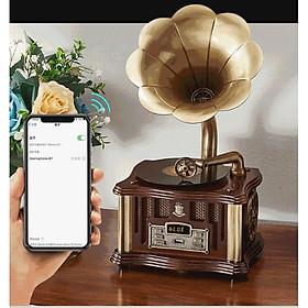 MÁY PHÁT NHẠC LOA KÈN ĐỒNG ( MÁY MINI) NGHE NHẠC QUA BLTOOTH, USB, ĐÀI FM