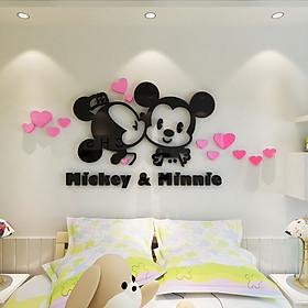 Miếng Dán Tường Acrylic Trang Trí Hình Chuột Mickey & Minnie