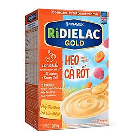 COMBO 2 hộp BỘT ĂN DẶM RIDIELAC  GOLD HEO CÀ RỐT - HỘP GIẤY 200G