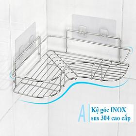 Kệ Góc Nhà Tắm INOX 304 dán tường gạch men siêu chắc