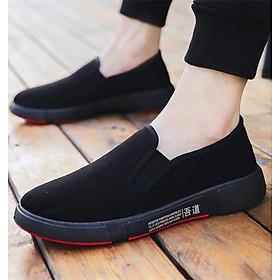 Giày Lười Slip-On Nam Vải Mềm Êm Thiết Kế Nam Tính - 3156N - Đen Full