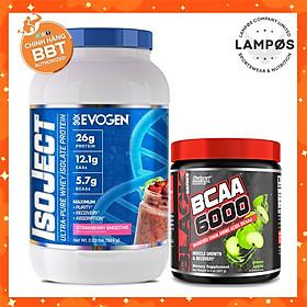 Combo Whey Protein IsoJect Evogen (vị dâu) - Kèm Nutrex BCAA6000 (vị táo), Bổ sung protein và phục hồi xây dựng cơ bắp