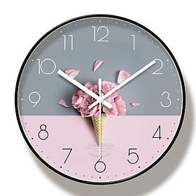 Đồng hồ treo tường kim trôi phong cách Bắc Âu - hình kem hoa hồng - Tặng kèm Pin và Đinh Treo Thông Minh