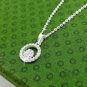 (BẠC CHUẨN 100%) Dây chuyền bạc nữ mặt hoa vòm tròn đính đá pha lê Ý - vòng cổ bạc PANMILA (MDC.A37)