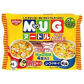 Combo 2 Gói Mì ăn dặm cho trẻ trên 1 tuổi Nissin MUG Cup Noodle 96g (4 gói nhỏ bên trong, 2 hương vị)
