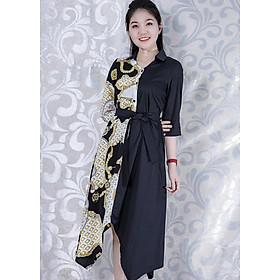 Đầm Suông Thanh Lịch Kiểu Đầm Dáng Sơ Mi Chữ A 2 Màu In Họa Tiết Cột Eo GOTI 3135