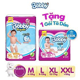 Tã quần Bobby siêu thấm đủ size tặng 1 tã dán Bobby siêu thoáng XL23