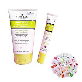 Floslek - bộ 2 sữa rửa mặt kháng khuẩn ANTI ACNE BACTERIAL FACE CLEANSING GEL 125ml + Gel giảm mụn ngừa thâm ANTI ACNE BACTERIAL INTENSE GEL 20ml + Tặng 2 mặt nạ Dermal bất kỳ