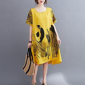 Đầm suông đũi trung niên in họa tiết LAHstore, thời trang xuân hè 2021