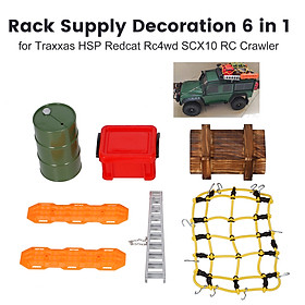 Rack Supply Decoration 6 in 1 Big Oil Tank Storage Box Wood Box Aluminum Ladder Self-Help Boards and Luggage Net for