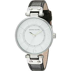 Đồng hồ nữ Đồng hồ nữ Anne Klein Women's 109169WTBK Silver-Tone and Black Leather Strap Watch