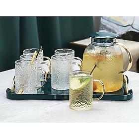 Bộ bình đựng  nước uống có khay sứ và 6 cốc thủy tinh  chịu nhiệt cao cấp- ANTH564