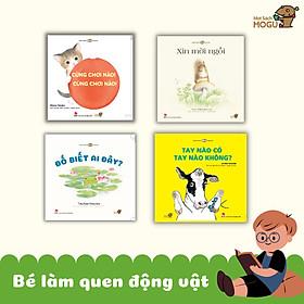 """Combo 4 cuốn Ehon với chủ đề """"Bé Làm Quen Với Động Vật"""" - Bao gồm: """"Đố biết ai đây, Cùng chơi nào Cùng chơi nào, Xin mời ngồi, Tay nào có tay nào không?"""