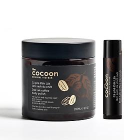 Combo Cà phê đắk lắk Tẩy da chết body cocoon 200ml + Son tẩy da chết môi cocoon 5g