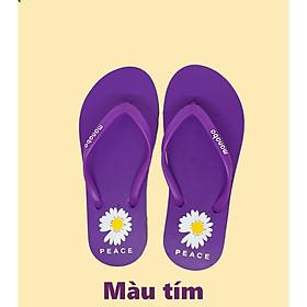 Dép kẹp tông nữ xỏ ngón IDEP hoa cúc Peace đi biển mùa hè (7 màu) - DL032