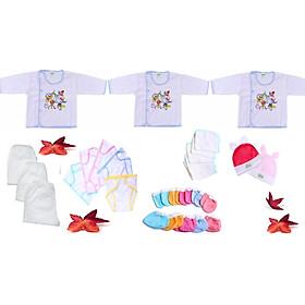 Combo 28 món đồ cho trẻ sơ sinh_ y hình (3 áo + 3 quần dài + 5 tã dán + 5 khăn sữa + 5 đôi bao tay + 5 đôi bao chân + 2 nón thỏ)