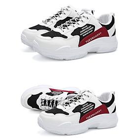 Giày Nam Thể Thao Sneaker Trắng Vải Dệt Đế Cao Su Nguyên Khối Siêu Êm Chân Phối Đen Đỏ Cực Chất Phong Cách Hàn Quốc (Hình thật) CTS-GN052-3