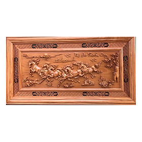 tranh gỗ mã đáo thành công - hàng đục canh bong sắc nét