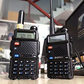 Bộ đàm Baofeng UV-5R phiên bản mới nhỏ gọn | Bộ đàm 2 băng tần số UHF/VHF kết hợp nghe đài FM và đèn pin chiếu sáng kèm tai nghe chuyên dụng cho bộ đàm - Hàng chính hãng