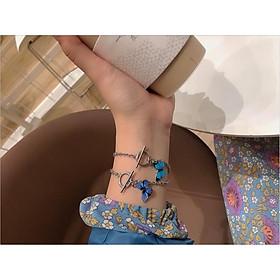 Vòng tay lắc tay BƯỚM XANH NHẠT XANH ĐẬM thời trang nữ