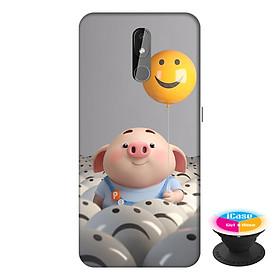 Ốp lưng điện thoại Nokia 3.2 hình Heo Con Thả Bong Bóng tặng kèm giá đỡ điện thoại iCase xinh xắn - Hàng chính hãng