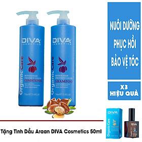 Trọn Bộ Gội - Xả Diva Cosmetics 750ML Siêu Tiết Kiệm Siêu Mềm Mượt - Tặng Tinh dầu Diva Cosmetics 50ml-1