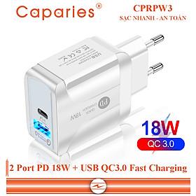 Adapter Sạc 2 Cổng Caparies CPRPW3 18W Tích Hợp Cổng USB Type-C 18W + USB Quick Charge 3.0 Hỗ Trợ PowerDelivery PD - Hàng Chính Hãng
