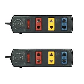 Hình đại diện sản phẩm Bộ 2 Ổ cắm kéo dài phổ thông 3 ổ đen có công tắc 3TS3-2