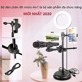 Đèn Live Stream 4in1 Để Bàn Có Chân Đỡ Micro LivesTream Hai Điện Thoại - Bộ Giá Đỡ Điện Thoại Livestream 4in1