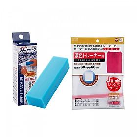 Combo Túi giặt bảo vệ quần áo 60 x 60cm + Xà phòng thanh giặt cổ áo nội địa Nhật Bản
