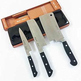 Bộ 3 Dao bếp cán nhựa ABS cao cấp Tiêu chuẩn Nhật Bản có Dao chặt xương nhỏ, dao thái, làm cá - GAF