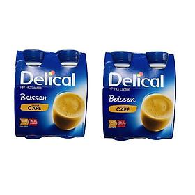 Bộ 2 lốc Delical vị Cafe có đường - sữa dinh dưỡng cao năng lượng (lốc 4 chai)