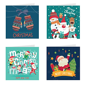 Thiệp giáng sinh Noel (christmas) - Combo 4c Thiệp Grey (317)
