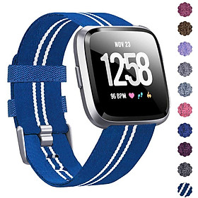 Woven Watch Band Compatible with Fitbit Versa/Fitbit Versa 2/Fitbit Versa Lite Edition Breathable Fabric Strap for Men Women Smartwatch