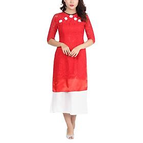 Set Áo Dài Cách Tân Ren Đính Hoa Đỏ + Chân Váy Trắng Amun SETAD68